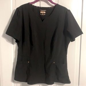 HeartSoul Black with Gold Accents Scrub Top Large